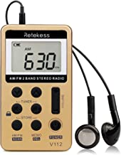 Retekess V112 AM FM Radio Portable Mini Radio with Earphone Pocket Digital Tuning Rechargeable Battery LCD Display for Walking Jogging(Gold)