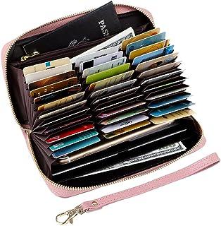 Women's RFID Blocking 36 Slots Card Holder Long Big Leather Zipper Wristlet Clutch Wallet, Pink