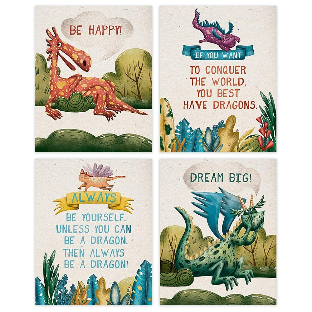 Dragon Art Prints Set of 8x10s - Max 54% OFF 4 Unframed Long-awaited