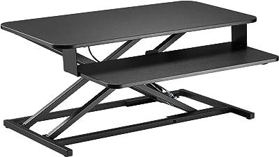 Bureau Assis Debout Convertisseur, Table Reglable Hauteur Standing Desk, Ressort à gaz avec Plateau de Clavier, Réglages de Haut en bas de 10.5 à 50 cm