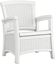 Suncast Elements Club Chair with Storage - Lightweight, Resin, All-Weather Outdoor Storage Chair - Built in Storage Capacity up to 11 lbs. - White