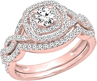 Dazzlingrock Collection 1.00 Carat (ctw) 14K Gold White Diamond Swirl Bridal Halo Engagement Ring Set 1 CT