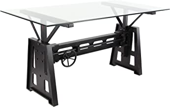 Deco 79 Industrial Wood, Metal and Glass Dining Table, 32