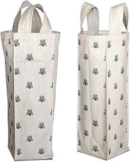Bonamaison Digitally Printed Cotton Canvas Wine Bag, Bottle Bag, Wine Bottle Covers, Wine Holder Bag, Size: 16,5 x 31,5 x ...