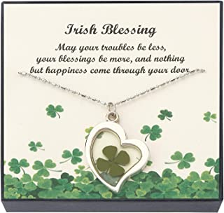 Beads & Pearls Jewelry Stainless Steel Shamrock Four Leaf Clover Charm Pendant Necklace for Women | St Patrick's Day Gifts, 18