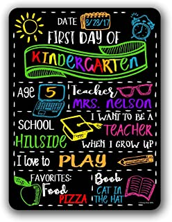 Chalkboard Style First Day of School Photo Prop Tin 9 x 12 inch Sign - Reusable Easy Clean Back to School - Customizable with LIQUID CHALK MARKERS (Not Included)