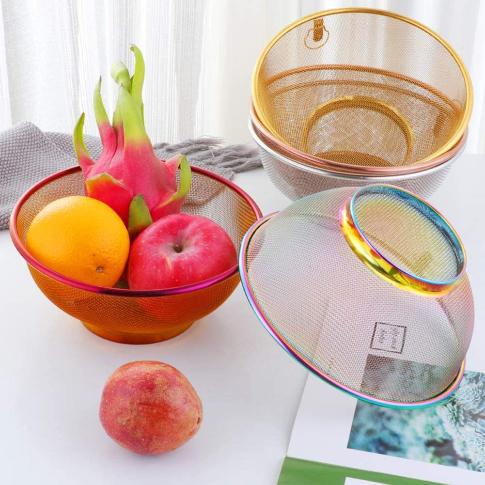Mikroperforierter Seiher Edelstahl Erstklassiges Sieb Küche Sieb Schüssel für Nudelgemüse Obst Hochleistung (Color : Rose Gold) Silver