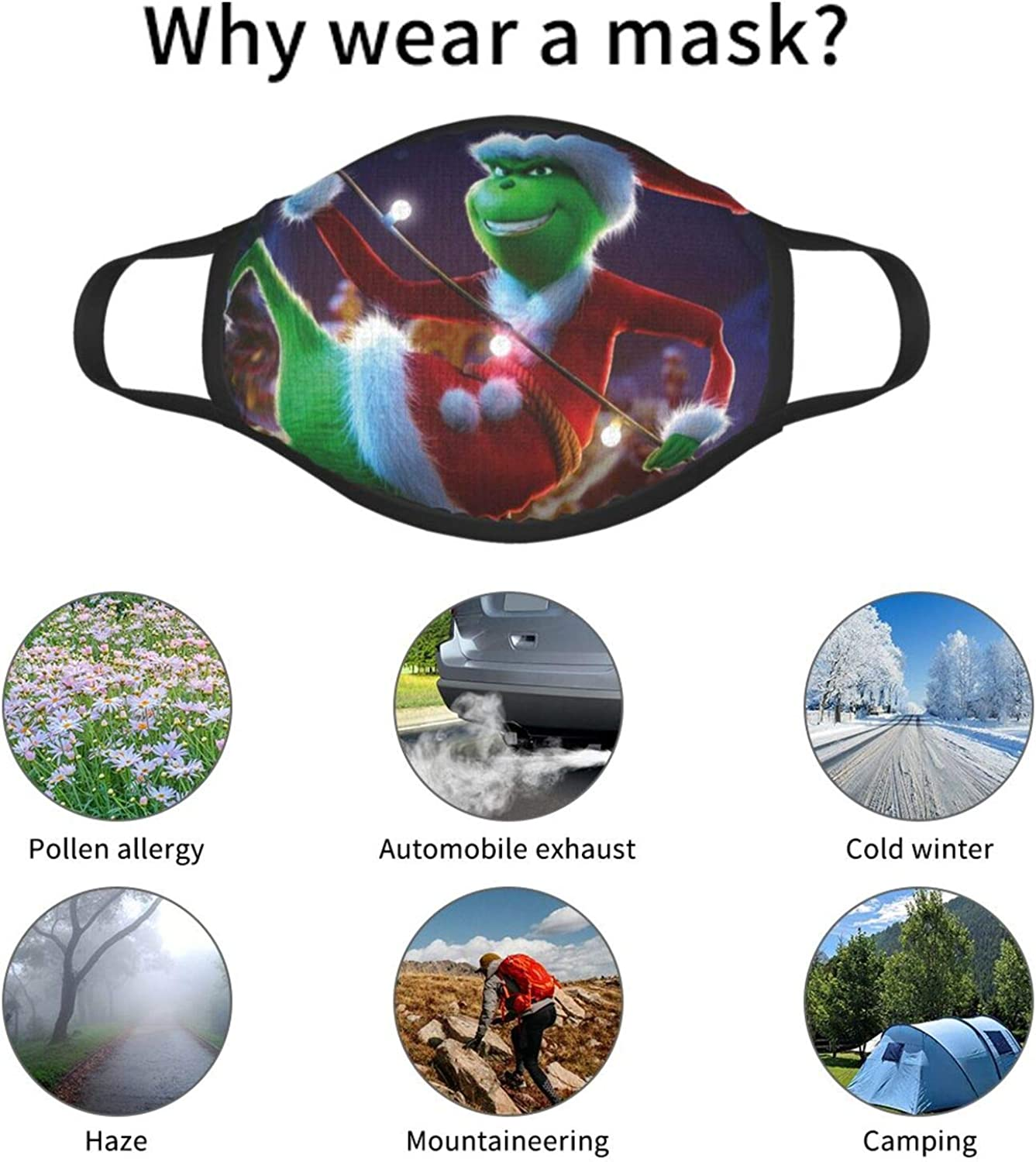 3 Pcs Cartoon Cloth Face Mask Nose Wire Balaclava Washable Neck Gaiter for Adolescent Teens