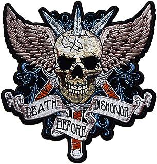 ecusson Route 66 Biker Motard Moto Tete de Mort Aile Ange thermocollant Grand Format 20x6cm patche Badge