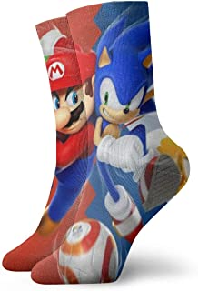 HADIHADI, Dibujos animados Super Mario Soni_c Antílope de dibujos animados Avatar de los hombres/de las mujeres pies sensibles de ajuste ancho de la tripulación calcetines y algodón Crew Athletic calcetín