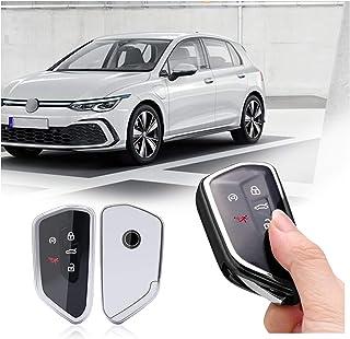 SHAOHAO Schlüssel Hülle für Golf 8 Seat Leon Ateca Tarraco Octavia,TPU Silikon Autoschlüssel Schlüsselhülle Autofernbedienungen Schutzhülle (Silber)