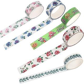 LFYZ Ruban Décoratif, Feuilles Colorées Roses Cartoons 10 Rouleaux Washi Tape Set, Collection de Papier Bricolage Liquide ...