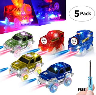 Track Cars [5 MEGA PACK] w/5 Led Light Up Replacement Glow-In-The-Dark Car  Track Accessories  Police Car, 2-Dinosaur School Bus, 2-Army/Sports Car, Compatible With Magic Tracks N Other Track Boy Girl
