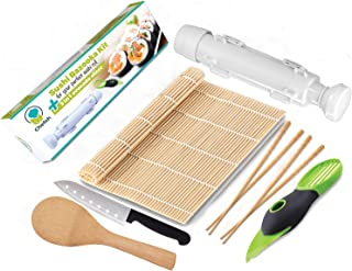 Chefoh All-In-One Sushi Making Kit | Sushi Bazooka, Sushi Mat, 2 Pair Bamboo Chopsticks, Avocado Slicer, Sushi Knife, Bamboo Rice Paddle Set | DIY Rice Roller Machine Food Grade Plastic Parts Only