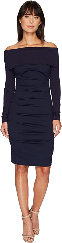 Nicole Miller - Ponte Off Shoulder Tucked Dress