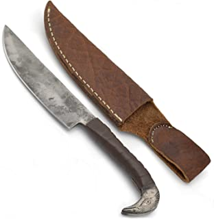 Norse Tradesman Viking Knife With Raven's Head Hilt & Leather Sheath - 5.5