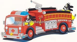 1/4 Sheet ~ Fire Truck Cartoon Birthday ~ Edible Cake/Cupcake Topper!!!