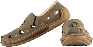tZaro Genuine Leather Olive Green Sandal - Transformer
