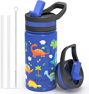 BUZIO Insulated Water Bottle for Kids, Modern Vacuum Insulated Hydro Bottle with 2 Straw Lids, 14oz Double Walled Wide Mouth Sports Drink Flask with Blue Dinosaur Park, Simple Thermo Canteen Mug Cup