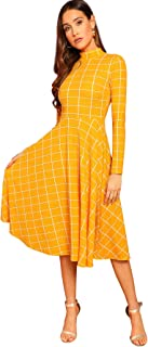 Women's High Neck Plaid Fit & Flare Midi Dress