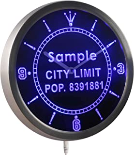 ADVPRO nct-tm Personalized Custom City Limit Name with Population Neon Sign LED Wall Clock