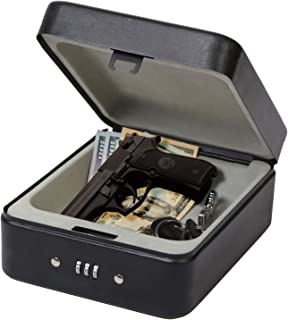 SEPOX Pistol Safe, Portable Gun Safe with Key Lock & Tether Cable