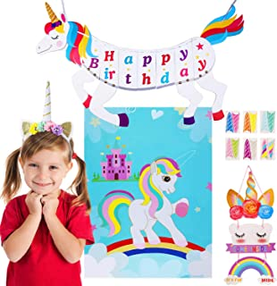 Gooidea Unicorn Happy Birthday Banner Set Unicorn Pin The Horn Game, Headband, Welcome Sign Card - 4-in-1 Fantasy Unicorn Favors Kit Party Supplies Magic Rainbow Birthday Party Decorations for Kids
