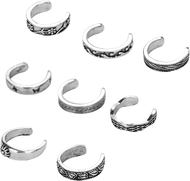 Masedy 8-15Pcs Open Toe Ring for Women Girls Knuckle Rings Set Vintage Retro Finger Ring Adjustable