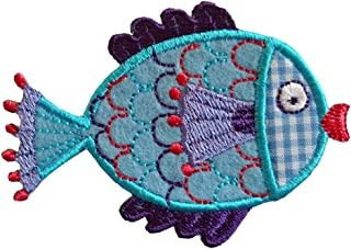 2 iron-on appliques set - Fish 8X6Cm and Racoon 8X7Cm embroidered application set by TrickyBoo Design Zurich Switzerland