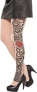 amscan Amscan 842076-55 - Tattoo-Strumpfhose Gothic, Strümpfe, Socken, Tribal, Rose, Feinstrumpfhose, Damen, Erwachsene, Halloween, Karneval, Mottoparty