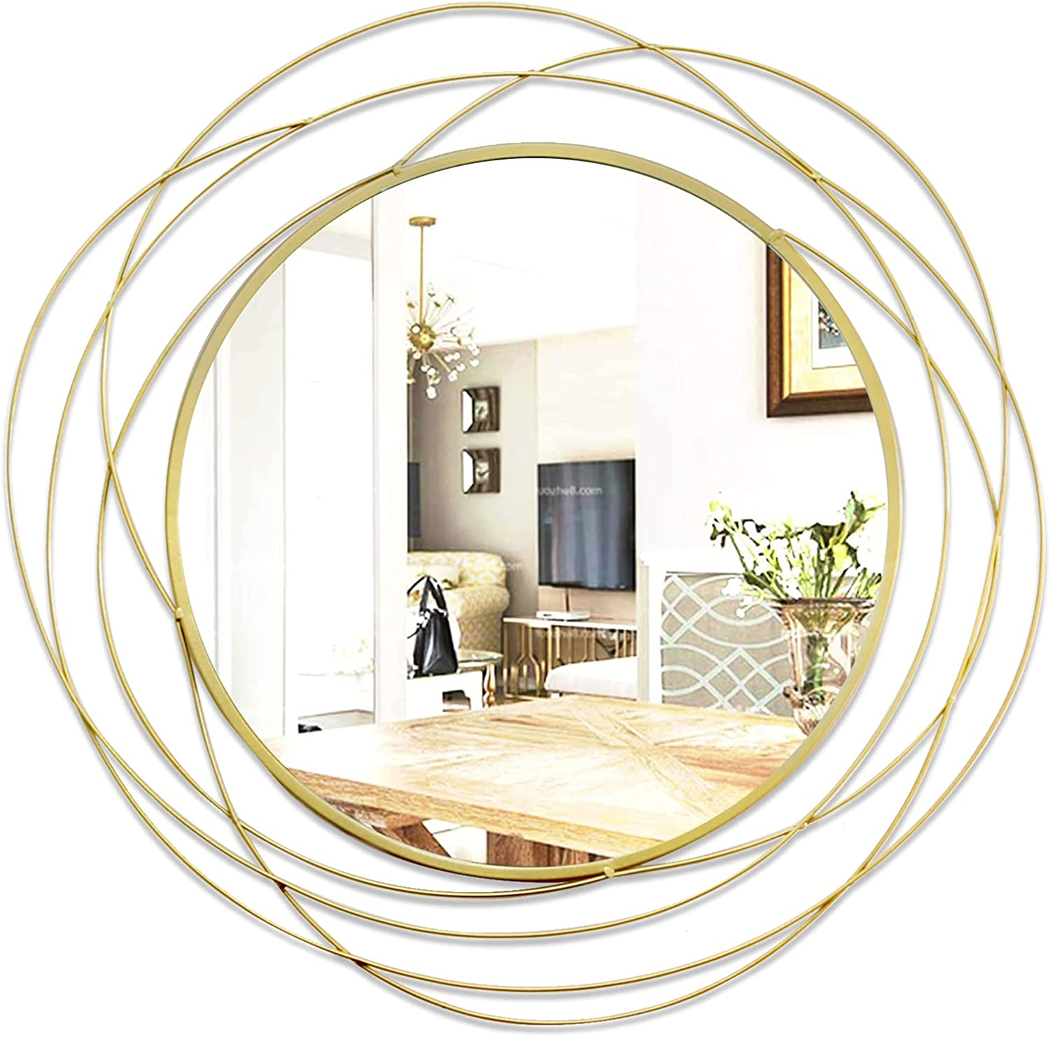 """ironsmithn Wall Mirror Mounted Round Decorative Mirrors Circle for Bathroom Vanity, Living Room or Bedroom 26.8"""" x26.8""""(glod)"""