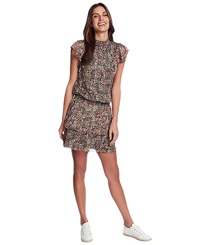 1.STATE  Forest Gardens High Neck Tiered Dress (Rich Black Multi) Womens Clothing