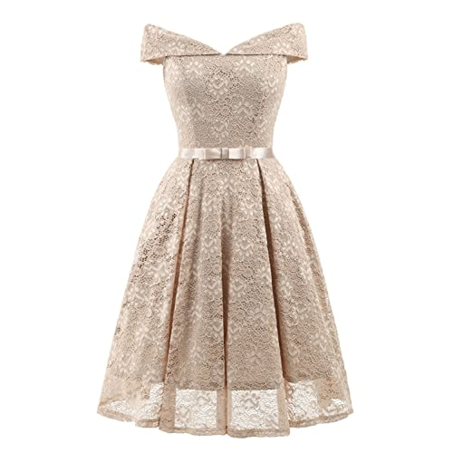 bdd25bc8ffc Bright Deer Women Bardot Lace Vintage Midi Skater Dress Party Cocktail  Special Occasion