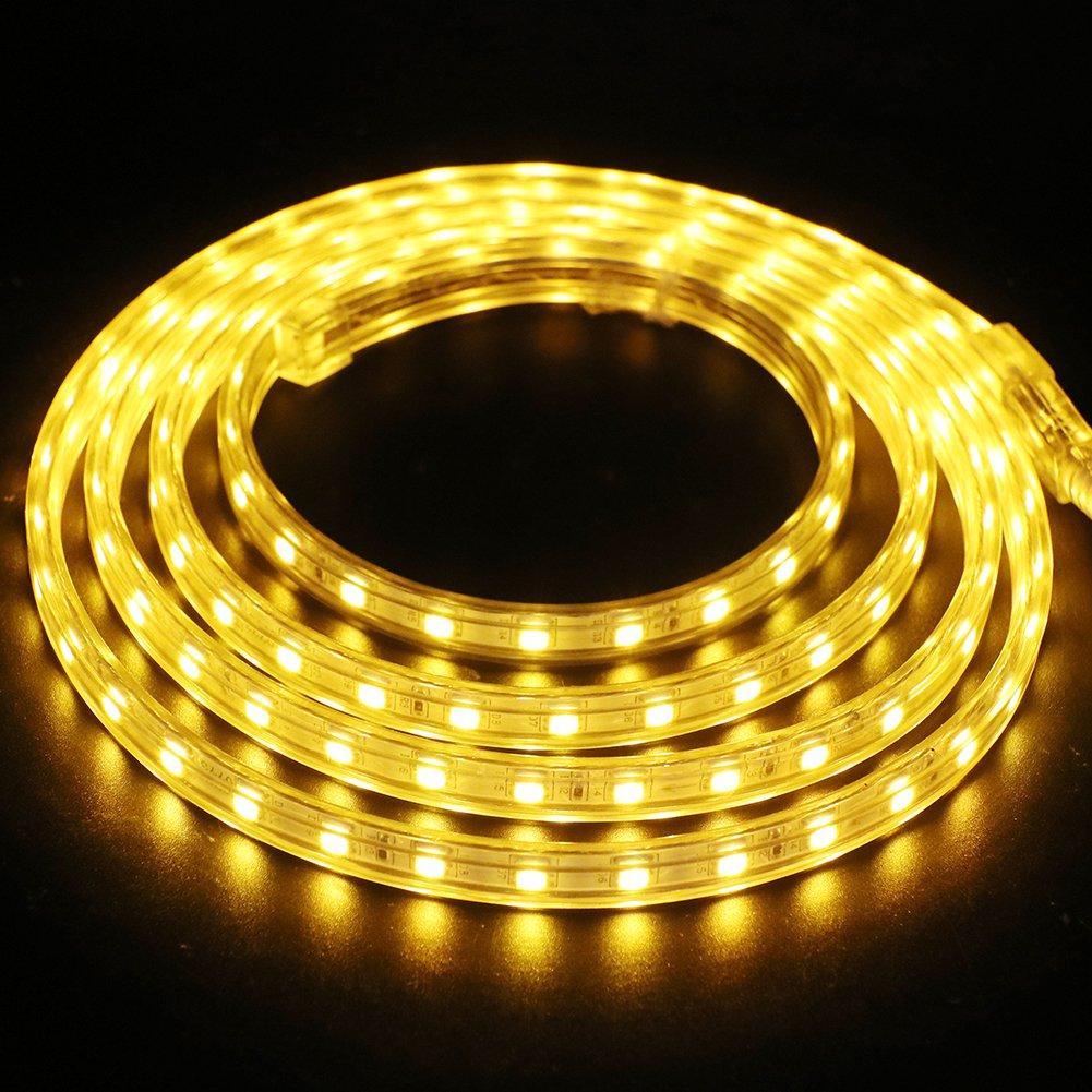 XUNATA 5m Tiras LED Amarillo, 220V SMD 5050 60LEDs/m, IP67 Impermeable, Escalera de Techo Tira de LED Cocina Cable Luces Flexible LED Strip Light Decoración: Amazon.es: Iluminación