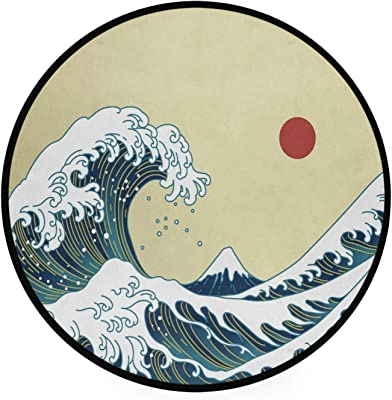 Oyihfvs Japanese Great Waves Non-Slip Round Area Rug, Floor Carpets Rugs for Outdoor & Indoor, 36.2x36.2 Inches Living Room Bathroom Dorm Doormats, Home Decor