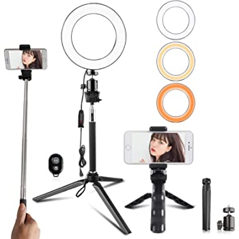 Travor 6-inch Dimmable LED Selfie Ring Light with Adjustable Stand with Remote Control, 3 Modes and 11-Level Brightness for YouTube Makeup Photography Shooting