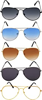 elegante combo of 5 Aviator Sunglasses for Men