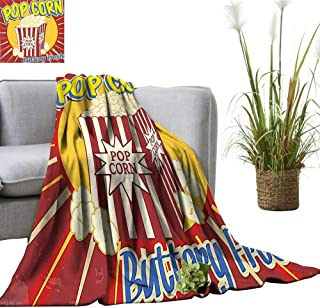 YOYI Blanket as Bedspread Vintage Style Pop Corn Commercial Print Old Fashioned Cinema Movie Film Snack Cozy and Durable Fabric-Machine 30
