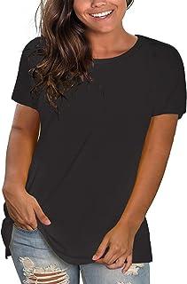 PLOKNRD Camisetas De Talla Grande para Mujer De Cuello Redondo De Manga Corta De Entrenamiento Lisas Ajuste Holgado