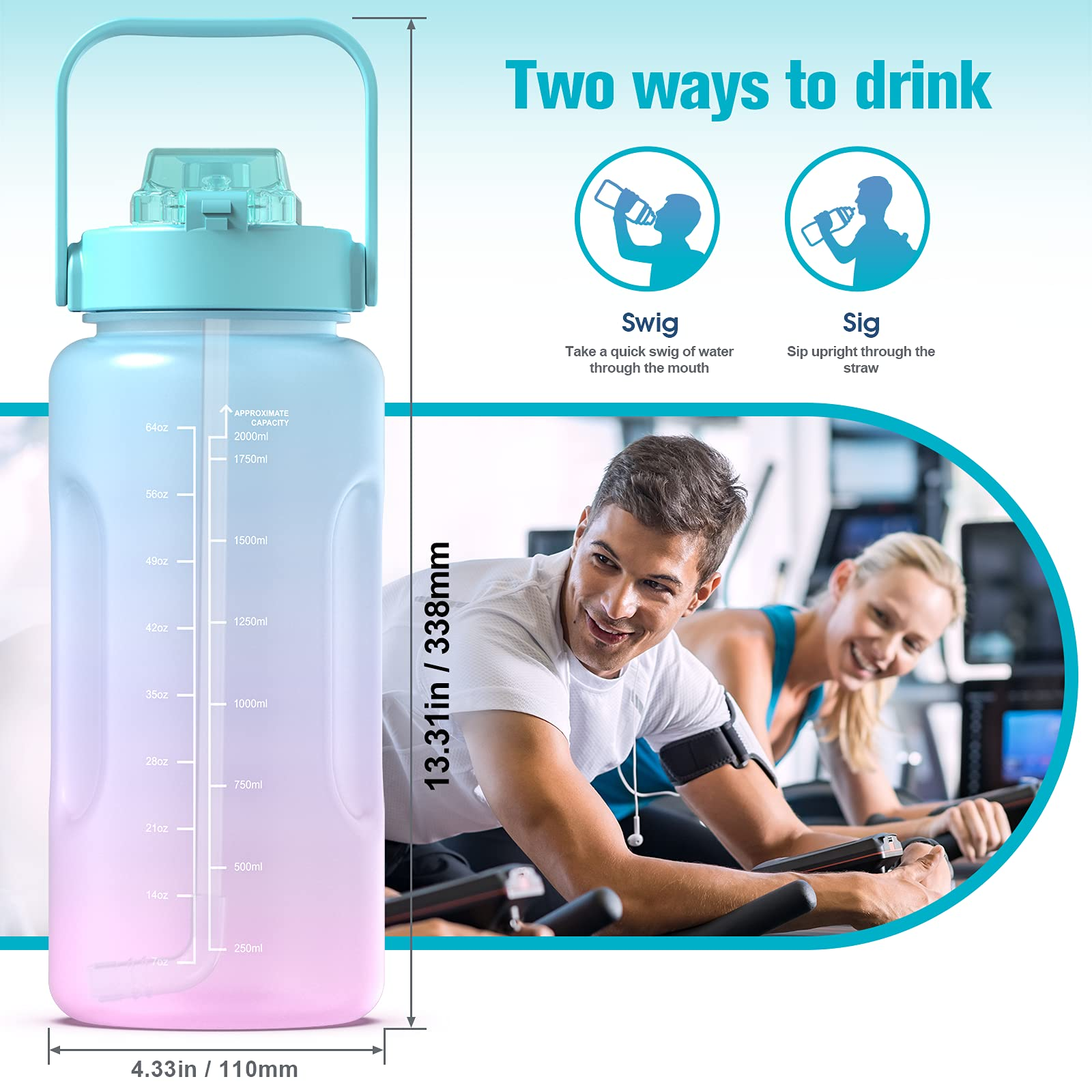 Kymbax Half Gallon/64oz Water Bottle with Time Marker and Straw, Motivational Water Bottle with Handle, Leakproof BPA FREE Tritan Water Jug for Gym, Outdoor, Fitness (Ombre Green Pink, 64oz)