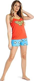 Pijamas Mujer Verano, Ropa Mujer de Algodon, Wonder Woman Pijama de Tirantes con Pantalones Cortos Mujer, Regalos para Mujer Chica Adolescente