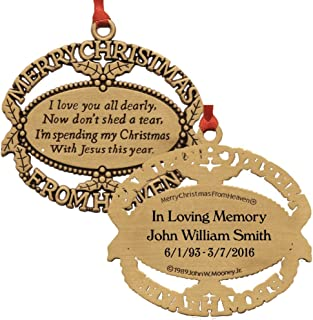 Merry Christmas From Heaven Personalized Gold Ornament with Poem Card in Gift Box