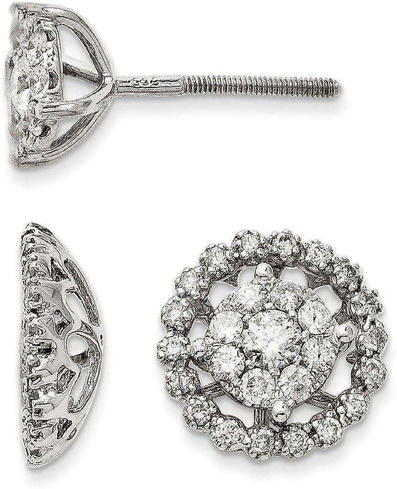 14K White Gold Large Flower & Jacket Diamond Post Earrings