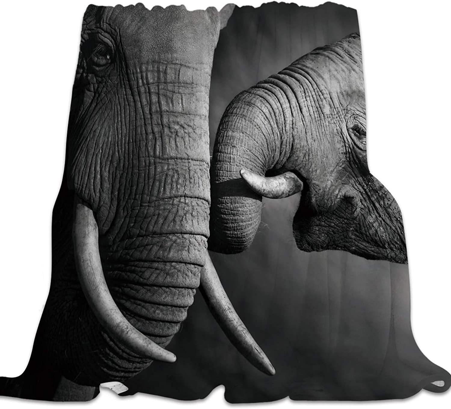 Clouday Flannel Fleece Bed Blanket Warm ThrowBlankets for Girls Boys,Cozy Lightweight Blankets for Bedroom Living Room Sofa Couch,3D Elephant Animal Printed Black and White,49x59inch