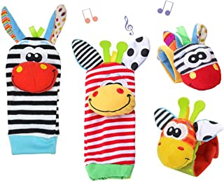 Baby Rattle and Baby Foot Finder, Baby Toys for 0-12 Months Infant Wrists Rattle and Socks Foot Finders Set Developmental ...