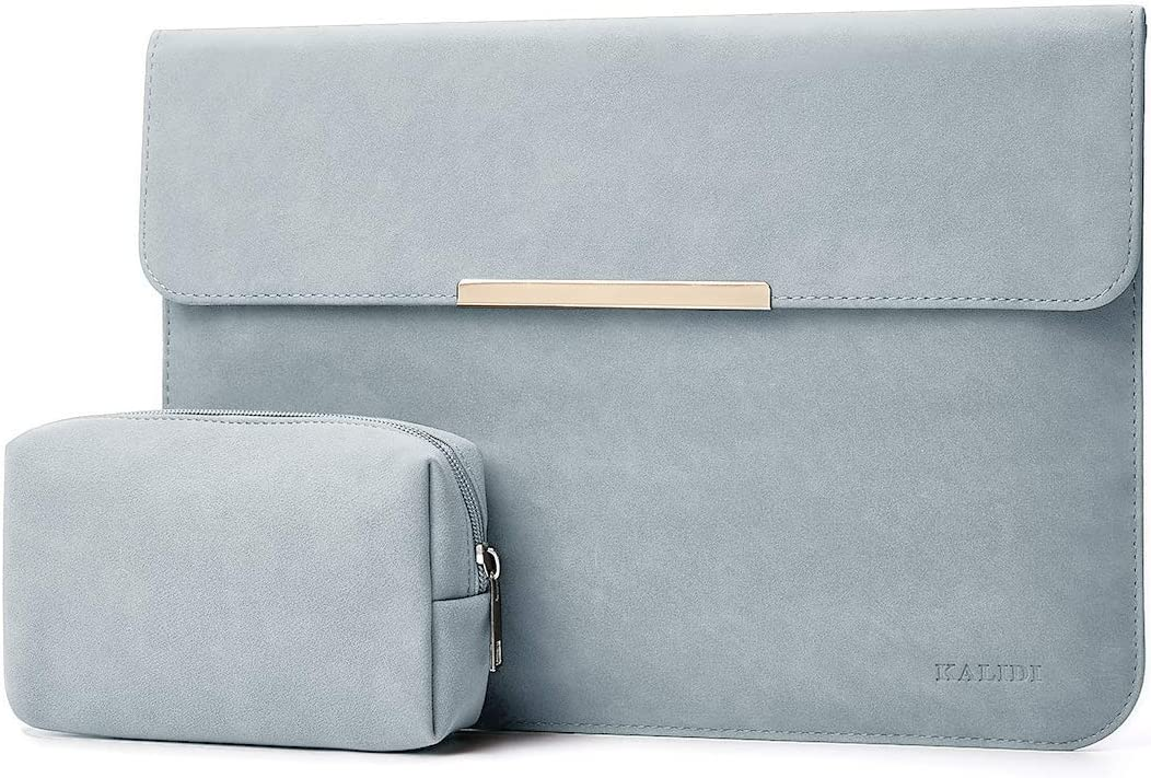 KALIDI 13.3 inch Laptop Sleeve Case Faux Suede Leather for MacBook Air Pro Retina 2016-2020 for 13-13.5 Surface Pro 5 6 7 with Pouch for 13.3 inches MacBook//Pro//Air, Dark Grey