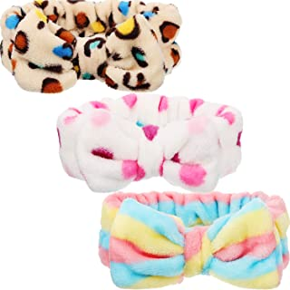 3 Pieces Microfiber Bowtie Headbands Bowknot Elastic Hair Band Adjustable Makeup Headbands Wash Spa Yoga Sports Shower Facial Hair Band for Girls Women (Classic Patterns)