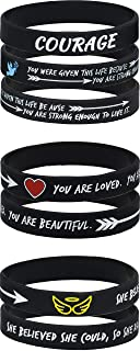 AMPM Collective   Silicone Motivational Wristbands   Rubber Inspirational Quote Bracelets   Unisex for Men Women Teens   Female Empowerment Motivation Courage Strength (6/12/24)