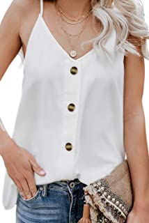 Women's V Neck Sleeveless Sexy Blouse Botton Down Tank Tops Casual Shirts