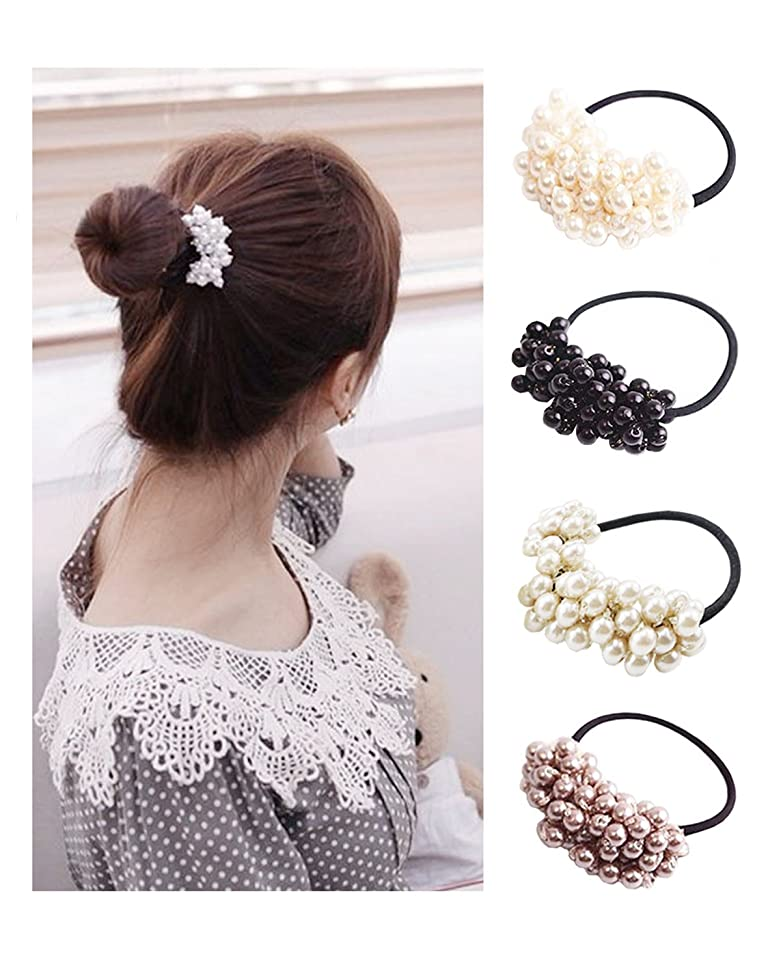 Twdrer 8Pcs Plastic Hair Rope,Pearls Beads Hair Band Hair Headband Ponytail Holders, Hair Accessories for Girl Women